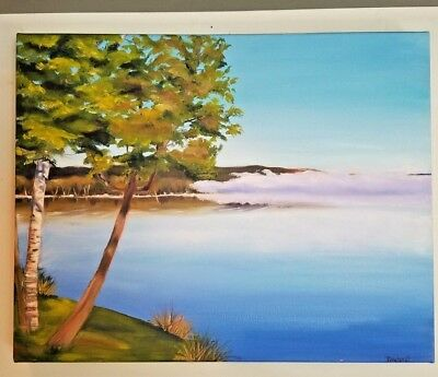 Original Oil Painting Trees Lake P Driehorst 20X16 on Canvas mounted wood frame