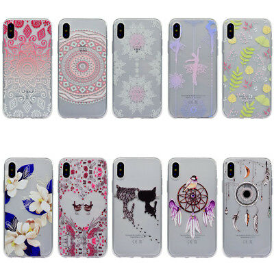 Soft TPU Transparent Multi Pattern Protective Skin Case Cover For iPhone X 10