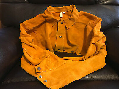 Oki Comfort Line Leather Welding Cape Sleeve Size Small Weld Cutting Torch Vest