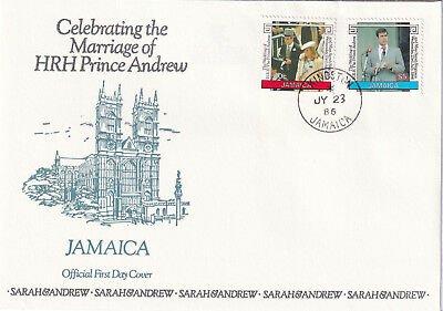 (21251) Jamaica FDC Prince Andrew Fergie Royal Wedding 23 July 1986