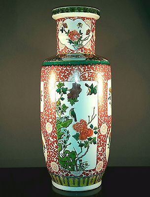 Kangxi Style Chinese 19th Antique Famille Verte Iron-Red Porcelain Rouleau Vase