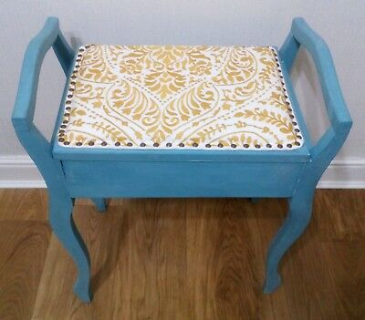 Upcycled shabby chic Edwardian piano stool