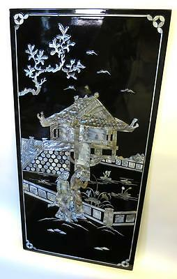 "Vietnamese Lacquer 23"" x 11.5"" Panel Mother of Pearl Girls Walking Phuc Loc Tho"