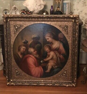 Antique Victorian Old Masters Style Oil Painting Adoration Of Magi Christ
