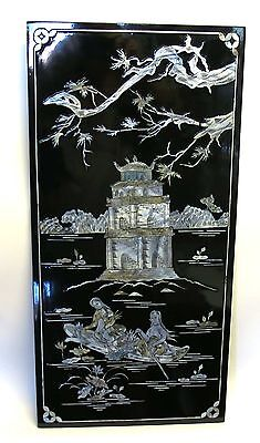 "Vietnamese Lacquer 23"" x 11.5"" Panel Mother of Pearl Pagoda Girls Phuc Loc Tho"