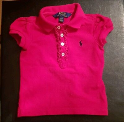 b0f37e84 RALPH LAUREN GIRLS Pink Polo Shirt With Navy Blue Detail - Age 2/2T ...