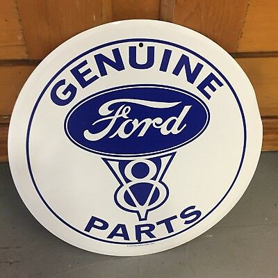 Vintage Style Genuine Ford V8 Motor Parts Metal Tin Sign Auto Car Truck Round