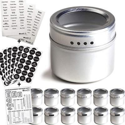 12 Magnetic Spice Tins & 2 Types of Spice Labels by Talented Kitchen. 12 Round