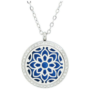 Essential Oil Diffuser Locket - Flower Design With Crystals