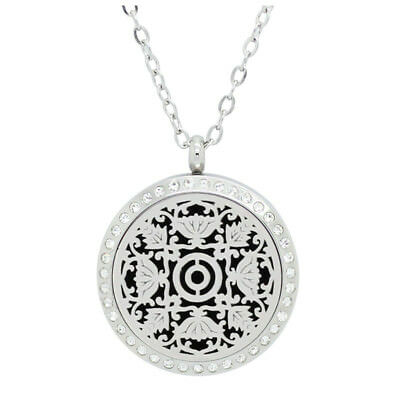 Essential Oil Diffuser Locket - Floral Design With Crystals