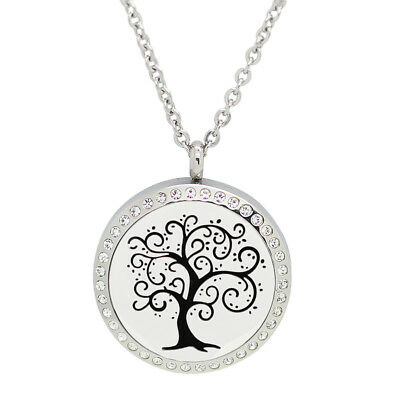 Essential Oil Diffuser Locket - Tree Design With Crystals