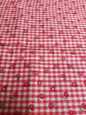 Vintage Flocked Fabric~ Red Flocked Flowers on Red and White Gingham