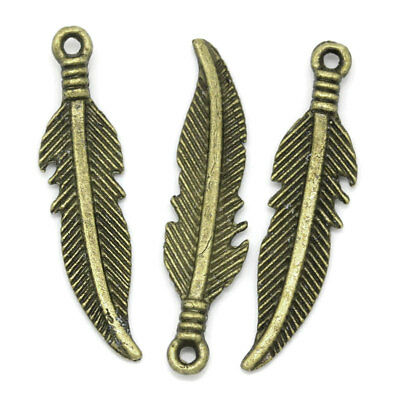 10 x Feather Native Charms, ANtique Bronze -tone  (27 x 6 mm)