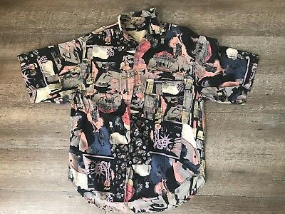 Vintage Santana New Wave Abstract Button Front Men's Shirt Size Medium 90s
