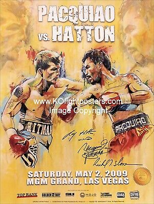 MANNY PACQUIAO vs. RICKY HATTON / DUAL SIGNED; Slone Art Onsite Boxing Poster