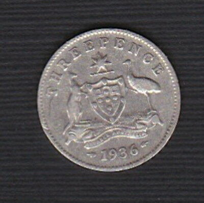 Australia -1936 3d Threepence King George V - last year of reign SILVER 3,600KM