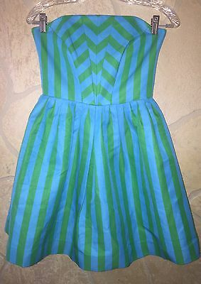 a41e197b5e819d Lilly Pulitzer $298 'Eve' Turquoise Swizzle Striped, Strapless Dress, Size 0