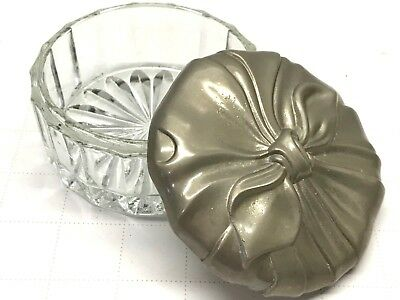 VTG GODINGER Silverplate Silver Trinket Dish GLASS Crystal Jewelry Powder Box