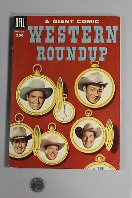 RARE Western Roundup DELL GIANT 10 1955 Fine+ Photo Cover Roy Rogers Gene Autry