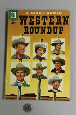RARE Western Roundup DELL GIANT 12 1955 Fine+ Photo Cover Roy Rogers Gene Autry