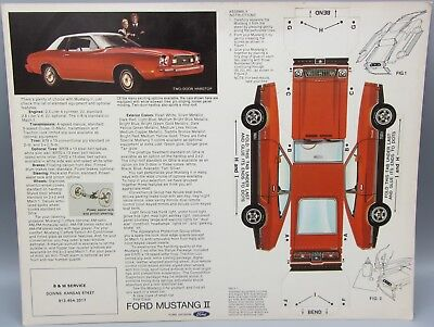 Rare Red Ford Mustang II Dealer Brochure - Pop Out Fold Up Model