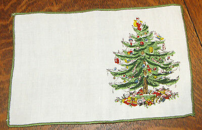 8 Spode CHRISTMAS TREE Linen Cocktail Napkins Leacock Excellent Condition