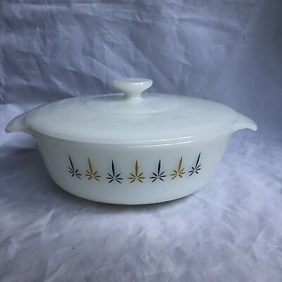 Vintage Fire King Round Covered Casserole Dish with Lid Candle Glow 1 Qt 436