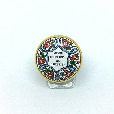 """NEW LISTING: HALCYON DAYS ENAMELS """"Never Economise on Luxuries"""" TRINKET BOX!!!"""