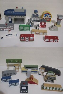 30 + Wooden Wood Train Buildings Police Fire Post Office House Magnetic Blocks