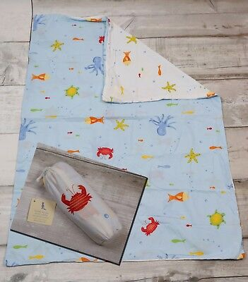 Pottery Barn Kids Bermuda FISH toddler bed DUVET crib boys reversible under sea