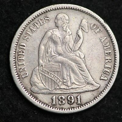 1891-O Seated Liberty Dime CHOICE AU FREE SHIPPING E313 RNH