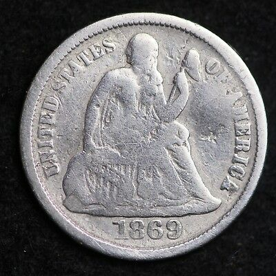 1869-S Seated Liberty Dime CHOICE FREE SHIPPING E319 KL