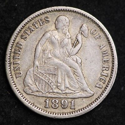 1891 Seated Liberty Dime CHOICE AU FREE SHIPPING E311 ANH