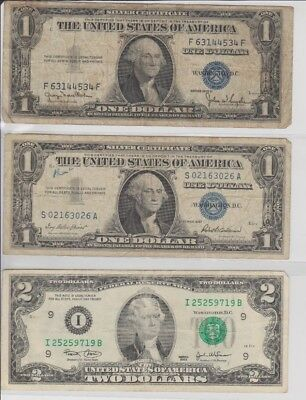 1935 & 1957 $1 SILVER Certificates! 2 Notes Old US Paper Money! + 2 Dollar 2003