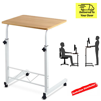 Adjustable Laptop Desk Mobile Table Rotate 360° Computer Stand Office Light Wood
