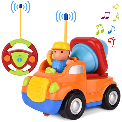 Remote Control Car Cartoon RC mixer truck with Music and Lights Radio Toy NEW US