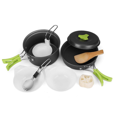 Camping Cookware Mess Kit Compact 10pc Hiking Cooking Gear Set Non Stick Pot Ect