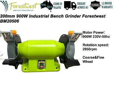 "200mm 900W Bench Grinder 8"" 1.2hp Linisher Sharpener + Industrial Level Grinding"