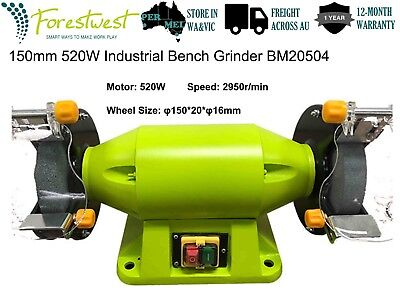 "150mm 520W Bench Grinder 6"" 0.7hp Linisher Sharpener Industrial Level Grinding"