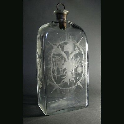 RARE Antique 18th Century RUSSIAN IMPERIAL GLASS VODKA BOTTLE FLASK Catherine II