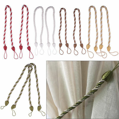"20"" Pair Braided Satin Rope Tie Back Tiebacks Curtain Voile Holder Window Cord"
