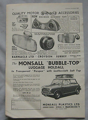1963 Barnacle car accessories & Monsall Luggage holdall Original advert