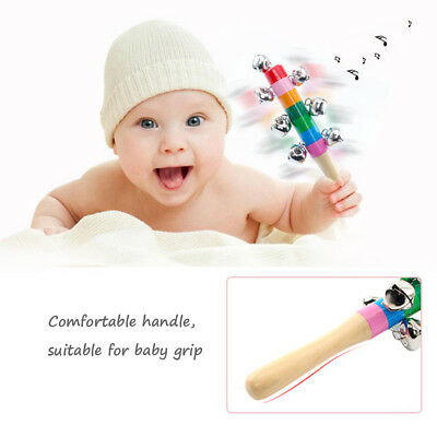 Rainbow Wooden Rattle Handle Bell Jingle Stick Shaker Toys Baby Kids infant Gift