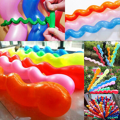 100X Twist Spiral Long Latex Balloons Wedding Birthday Party Decoration SE