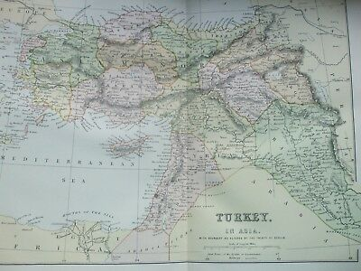 Antique Print Dated C1870's Map Of Turkey In Asia Colour Engraving World Atlas