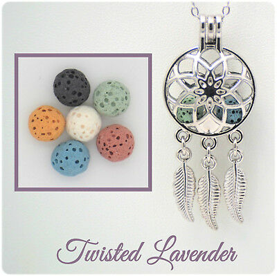 Dream Catcher & Feathers Aromatherapy Essential Oil Necklace with 6 lava stones!