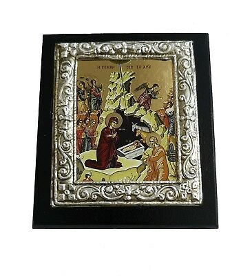 Greek Orthodox Lithography Icon Ikone Nativity of Christ 10cm x 11.5