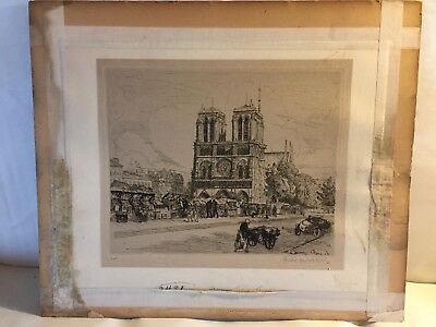 Signed Artist Proof,etching,Notre Dame,Paris,Left Bank Booksellers,SZECKELY