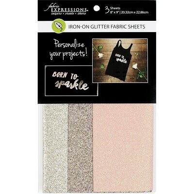 """Fabric Expressions Fusible Glitter Sheets 8""""x9"""" 3/pkg-fashion, 1 Each Of 3"""