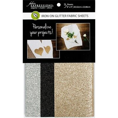 "Fabric Expressions Fusible Glitter Sheets 8""x9"" 3/pkg-basic, 1 Each Of 3 Colors"